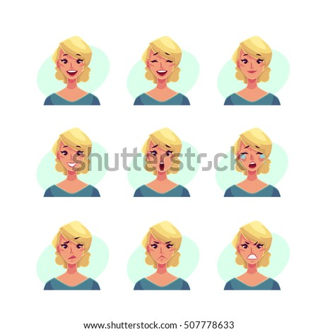 girl face expression  set of