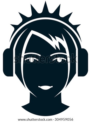 girl face head in headphones