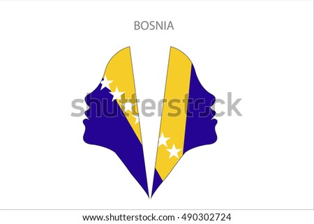girl face with bosnia flag