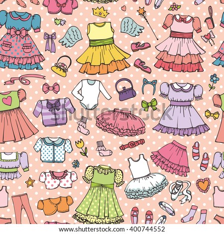 888b28adf4f0 Royalty-free Set of cute hand drawn clothes for baby…  357041393 ...