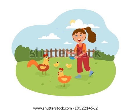 girl feeding chicken in contact