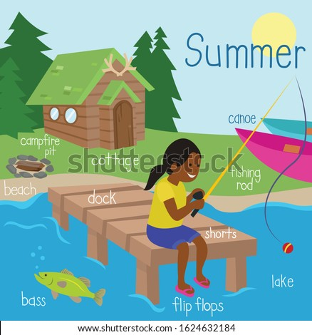 Girl fishing on a dock with fishing rod. Bass is swimming in the lake. Beach, campfire pit, cottage and canoes in the background. Summer Canadian cottage scene with English vocabulary words labels. ストックフォト ©