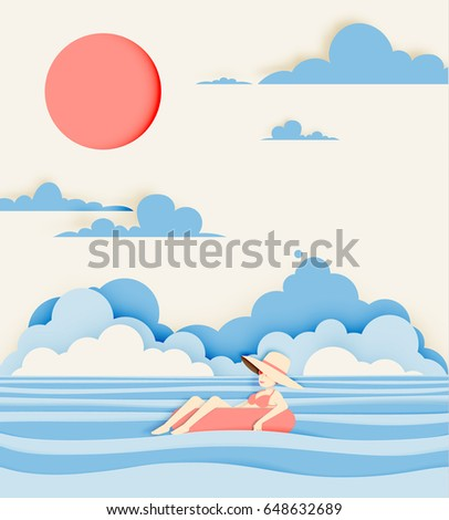 Girl floating on the water with beautiful sea background paper cut style vector illustration