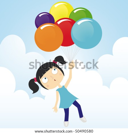 Girl fly with balloons in a sunny day