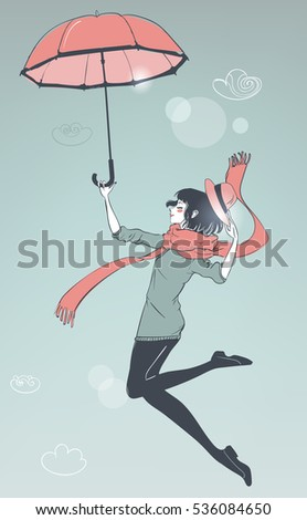 girl fly with umbrella