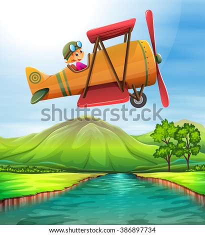 girl flying airplane over the