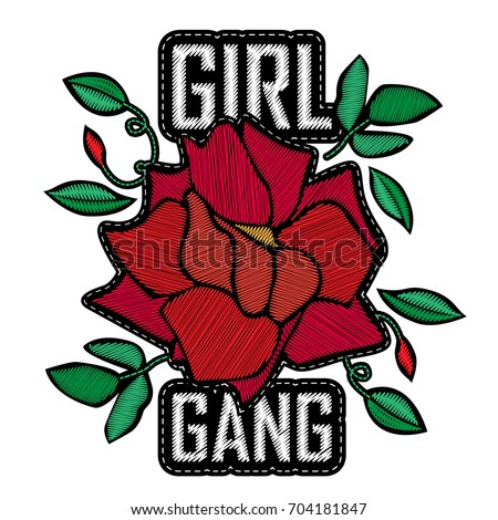 Girl Gang - fashion badge or patch. Embroidery Rose with Leaves for rock girl gang. Vector design element, sticker, pin or patches in vintage punk style. T-shirt apparels cool print for girls
