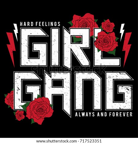 Girl Gang - fashion patch or badge. Embroidery Rose with Leaves for rock girl gang. T-shirt apparels print for girls with slogan. Vector sticker, pin or patches in vintage punk style.