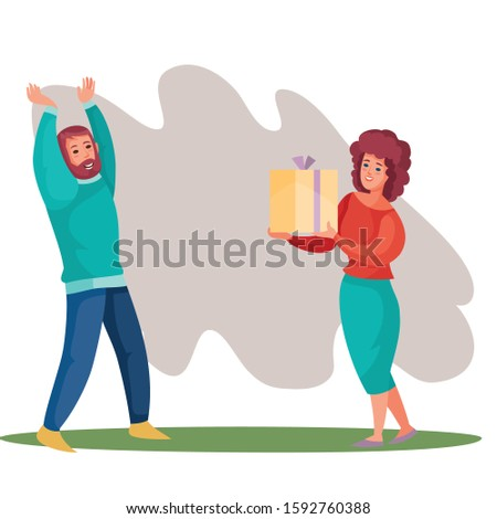 girl gives a guy a box with a gift, surprise, joy, holiday, birthday, vector illustration