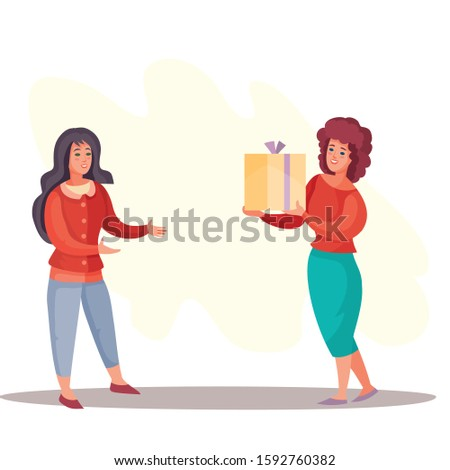 girl gives a woman a box with a gift, surprise, joy, holiday, birthday, vector illustration