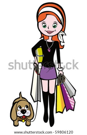 Girl goes shopping with the red dog