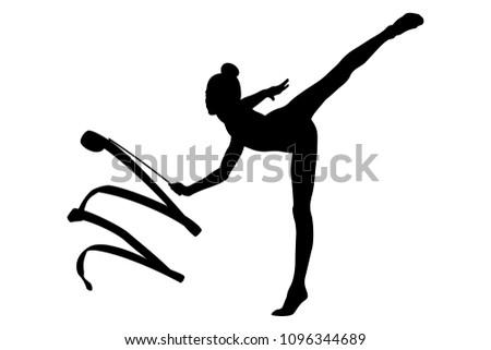 girl gymnast black silhouette exercise ribbon in rhythmic gymnastics