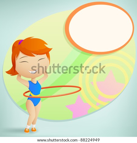 Girl gymnast make fitness exercise with red hula-hoop on abstract background. Vector illustration.