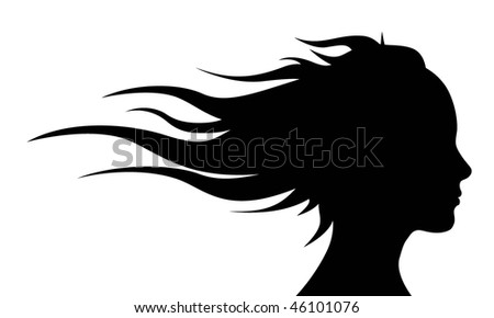 Girl head with long hair.