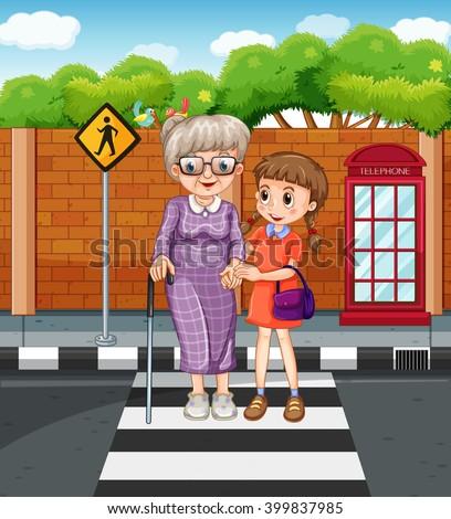 girl helping grandmother