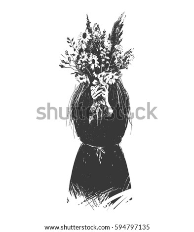 girl hides behind a bouquet of