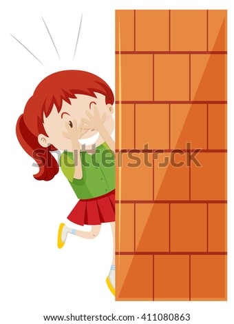 girl hiding behind the wall