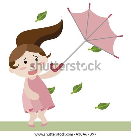 girl hold upturned umbrella in heavy wind cartoon vector