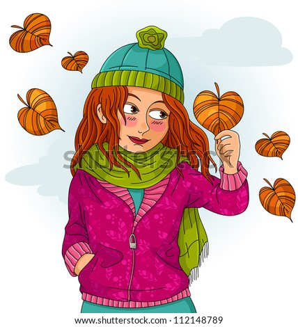 girl holding a heart shaped autumn leaf (JPEG available in my gallery)