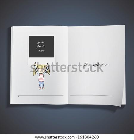 girl holding a photo printed on book. Vector design.  - stock vector