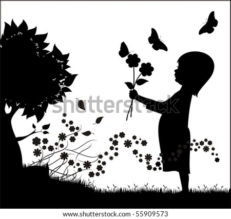 Girl holding flowers with butterflies