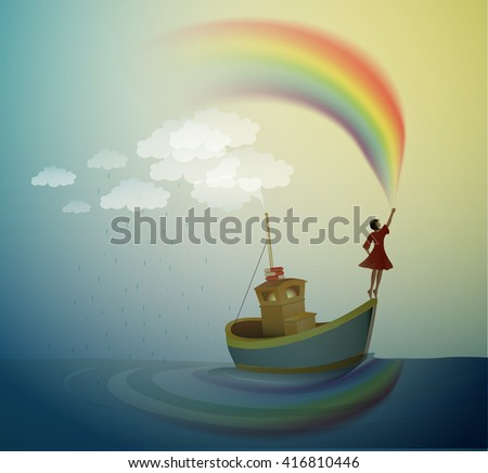 girl holding the rainbow and
