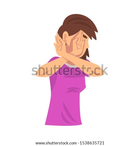 Girl holds arms crossed in front of her saying stop cartoon vector illustration