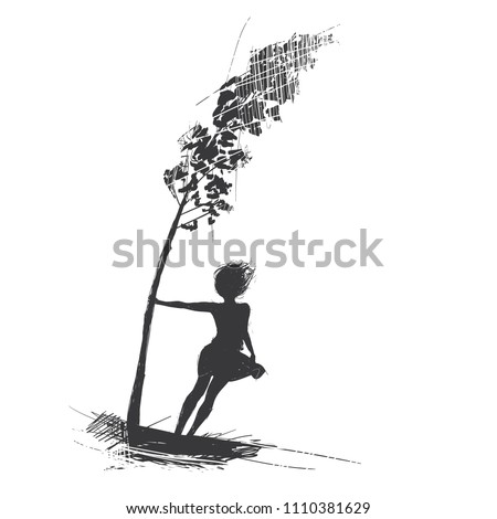 girl holds onto a tree  the