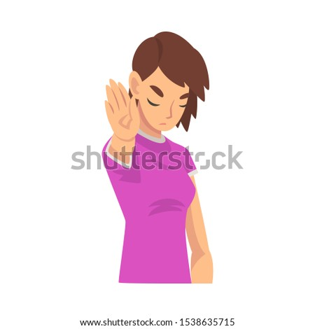 Girl holds palm in front of her saying stop cartoon vector illustration