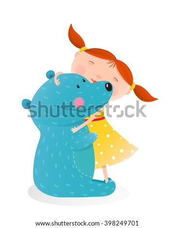 girl hugging toy cute bear