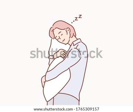 Girl hugs a pillow. Tired girl hugging pillow.Woman in pajamas hugging a pillow. Hand drawn style vector design illustrations.