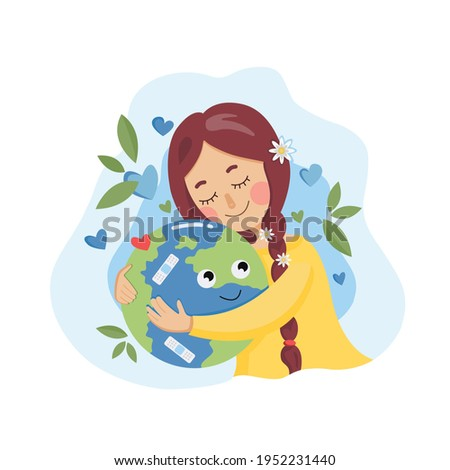 Girl hugs planet Earth with love and care. The concept of love, care and keeping the Earth healthy. Vector eco illustration of Earth day and saving planet. Save our planet.