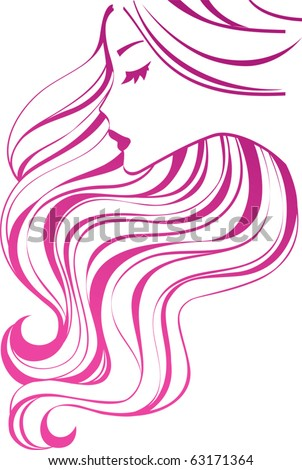 Girl icon. Beautiful female profile with wavy hair.