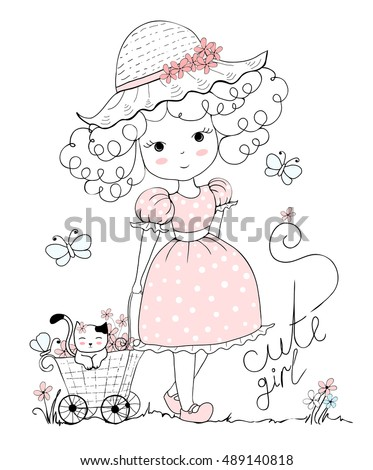 girl illustration  cat  flowers