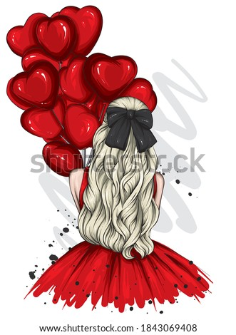 Girl in a beautiful dress with long hair and a bow. Fashion and style, vintage and retro. Love, Valentine's Day.