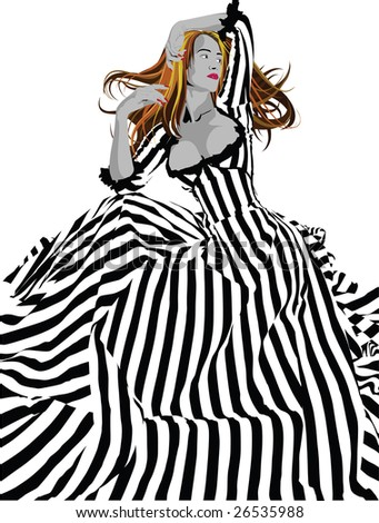 stock vector Girl in a black and white stripes victorian wedding dress