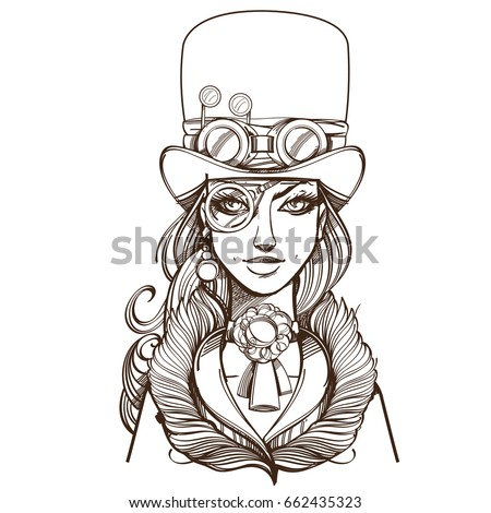 girl in a top hat and monocle
