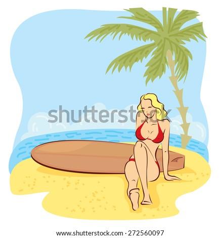girl in bikini sit with