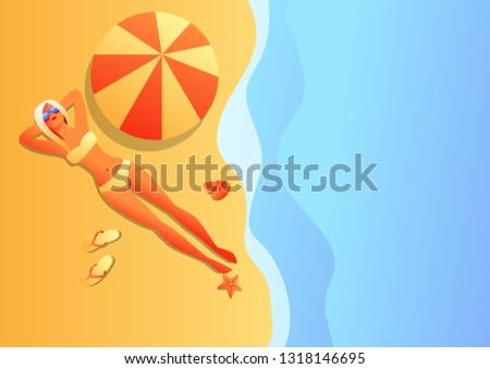 girl in bikini sunbath and