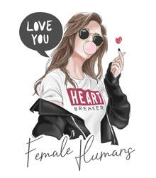 girl in black jacket illustration