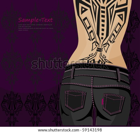 Girl in black jeans, waist and hips is shown on the back tattoo