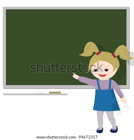 Girl in classroom, pointing at empty blackboard(for text). Isolated on white background