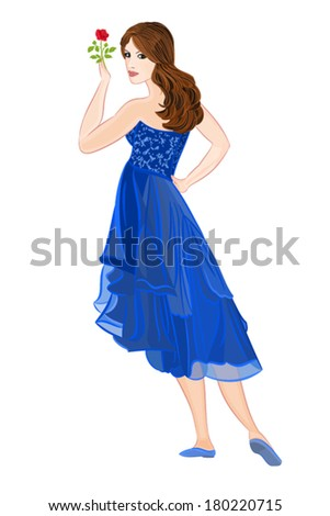 girl in dark blue formal dress