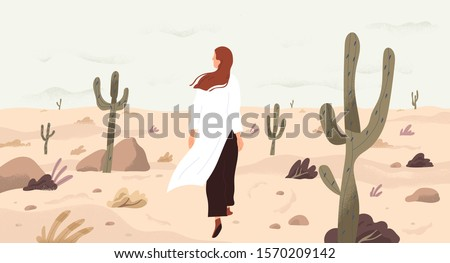 Girl in desert flat vector illustration. Single woman cartoon character. Travelling and outing, discovery and exploration concept. Emptiness and loneliness, opportunity search metaphor.