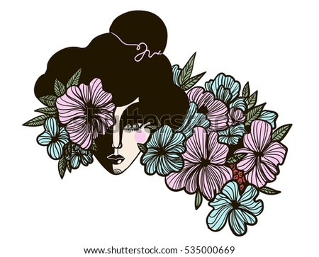 girl in flowers print isolated