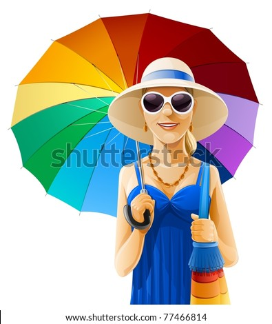 girl in hat with umbrella vector illustration isolated on white background
