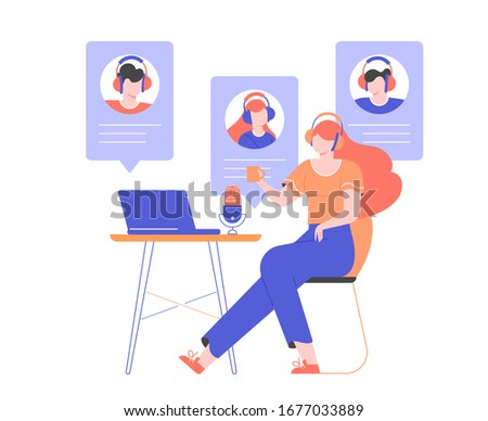 Girl in headphones at home or in the office at a desk with a laptop and a microphone. Communication with the team via video online, urgent meeting, remote work, freelance. Vector flat illustration.