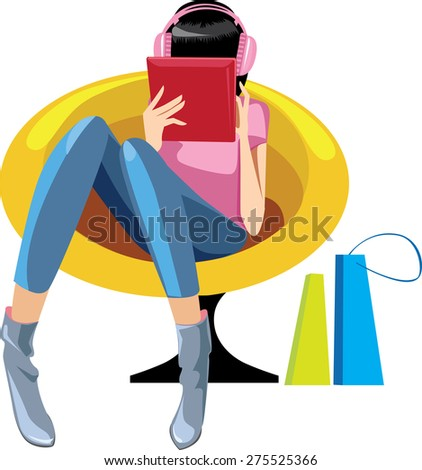girl in headphones with a tablet