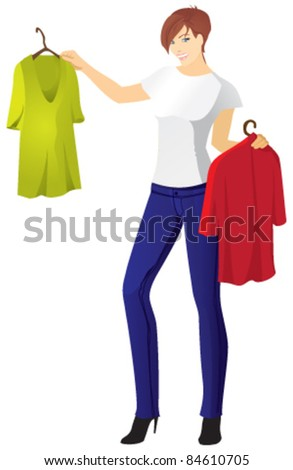 girl in jeans selects T-shirt