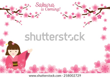 girl in kimono with cherry